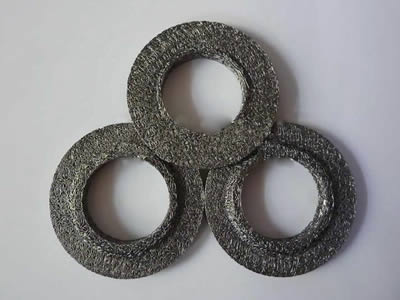 Three ring shape compressed knitted mesh with a raised surface.