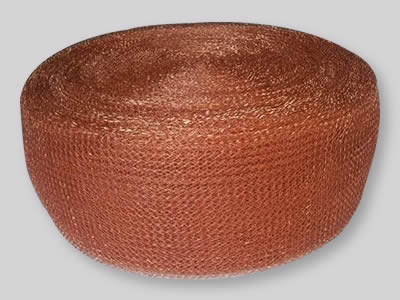 A roll of flatten copper knitted mesh on the white background.