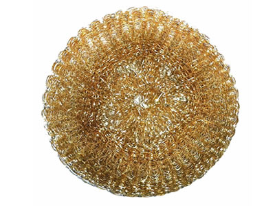 A brass knitted cleaning ball on the white background.