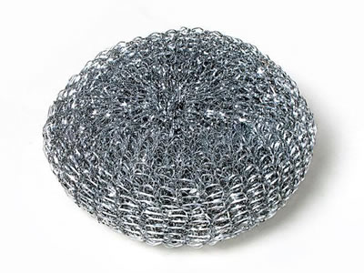 A galvanized knitted cleaning ball on the white background.