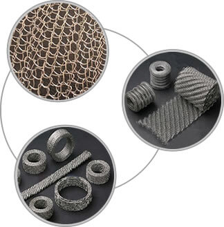 Three pictures about stainless steel knitted mesh, ginning knitting mesh rills and compressed mesh ring and bar.