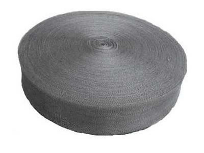 A roll of stainless steel knitted wire mesh tape on the white background.