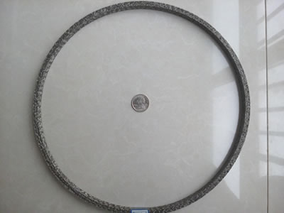 A ring shape knitted mesh gasket with a metal coin in the middle.